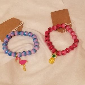 NEW Glass Bead Bracelets with Cute Charms